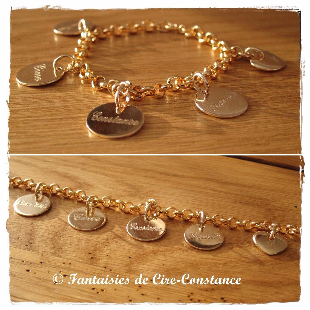 Plaqué or bracelet mailles rondes petites médailles 15 mm