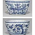 A rare blue and white jardinière. late ming dynasty, 16th-17th century