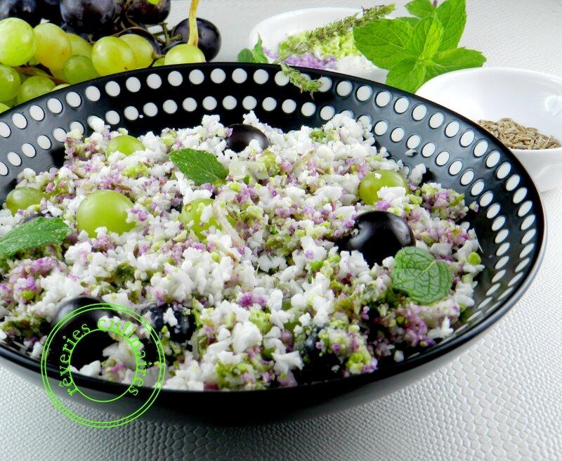 Taboulé de choux - fleur aux raisins frais