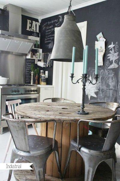 luminaire et mobilier de récup indus
