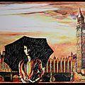 London woman in the rain