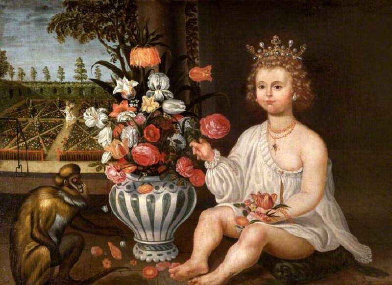 1600s_Unknown_Spanish_artist__A_Royal_Child_Seated_by_a_Vase_of_Flowers__a_Monkey_with_a_Garden_beyond_and_the_Figure_of_Pomona_Walking_in_It