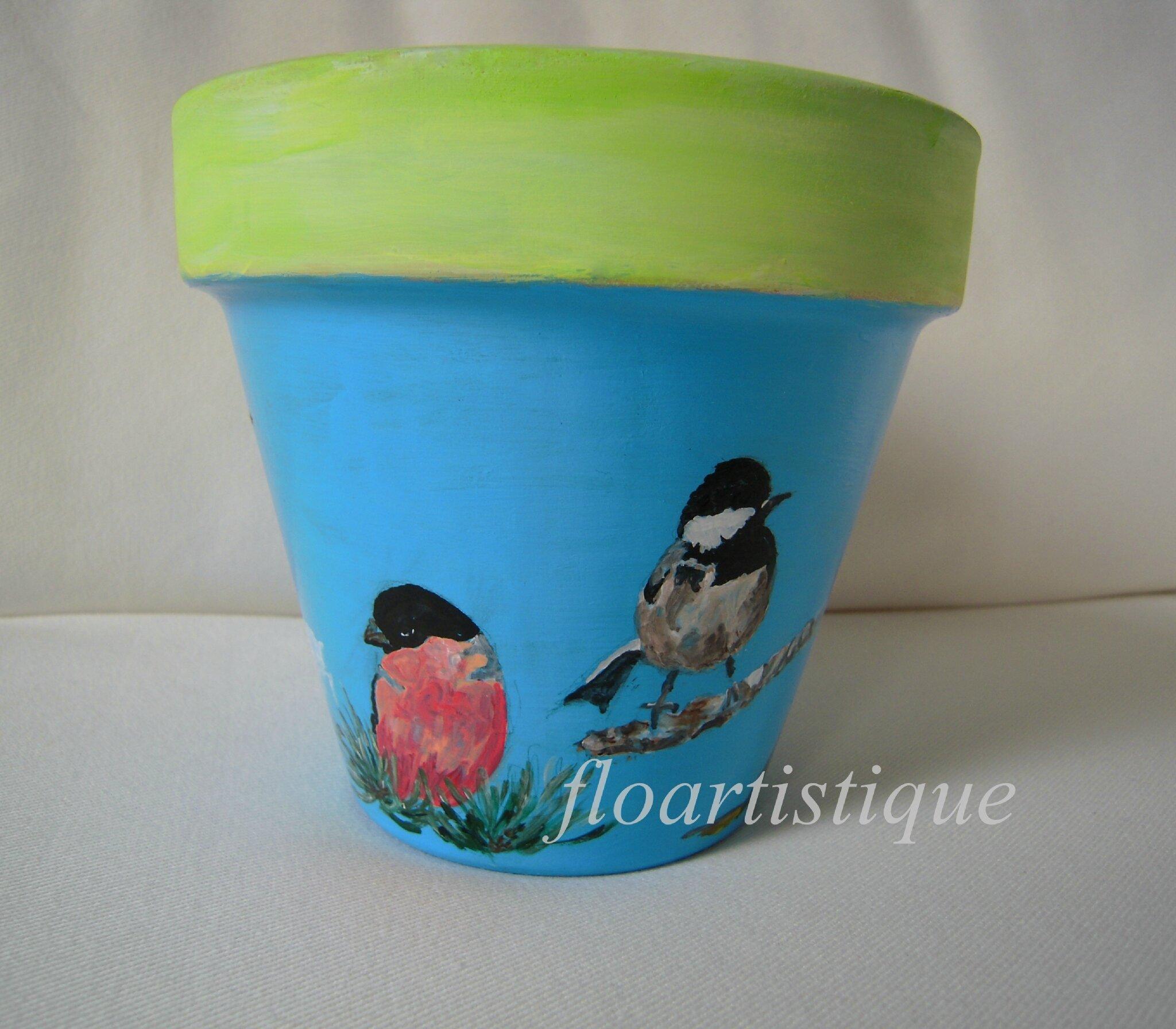 Cache pot décor oiseaux de jardin