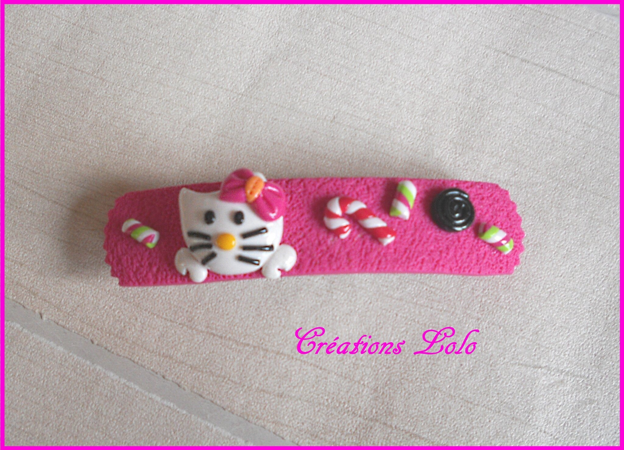 268 - Barette Hello Kitty rose