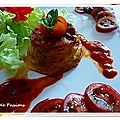 Flan au basilic, tomates, tapioca