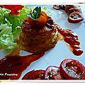 Flan au basilic, tomates, tapioca