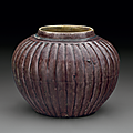 A small aubergine-glazed ribbed jar, Ming dynasty, 16th century