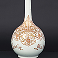 A very rare bottle vase with lambrequin decoration. china, kangxi period (1662-1722)