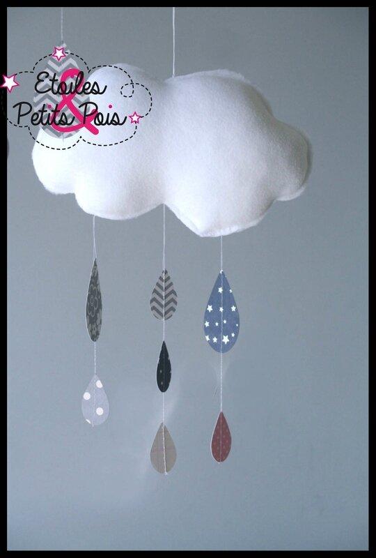 Mobile nuage et gouttes de pluie tons rose et gris 3