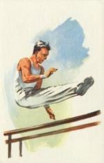 CPM JO 1960 Rome Gymnastique Barres parallèles homme