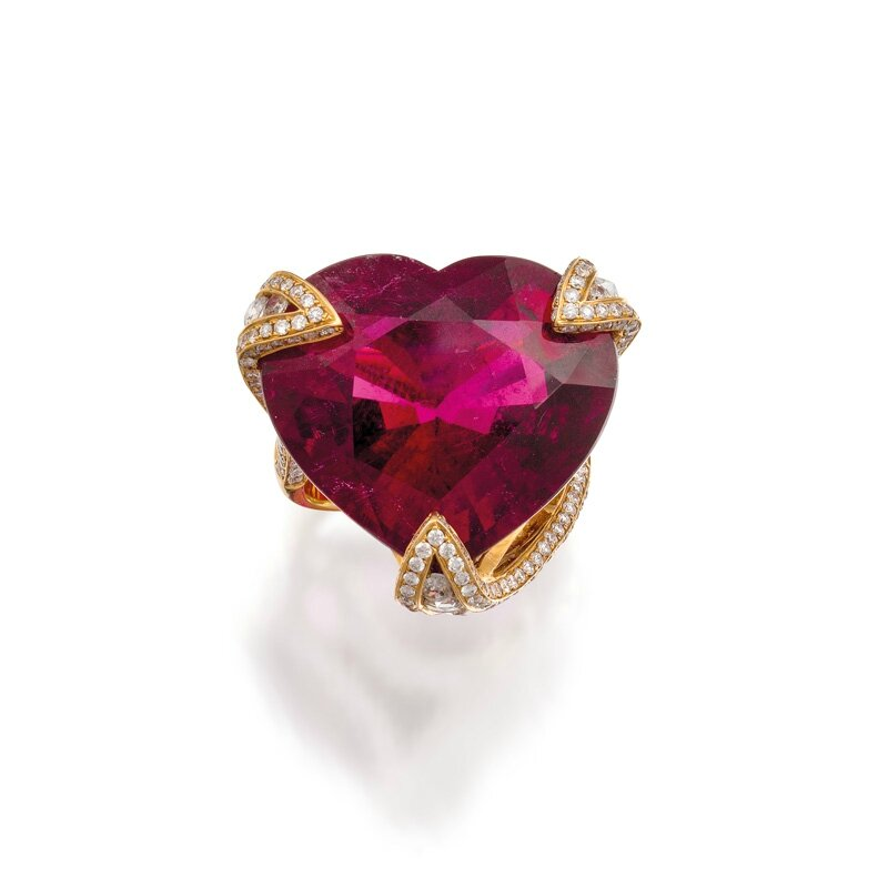 18ct rose gold, tourmaline and diamond ring