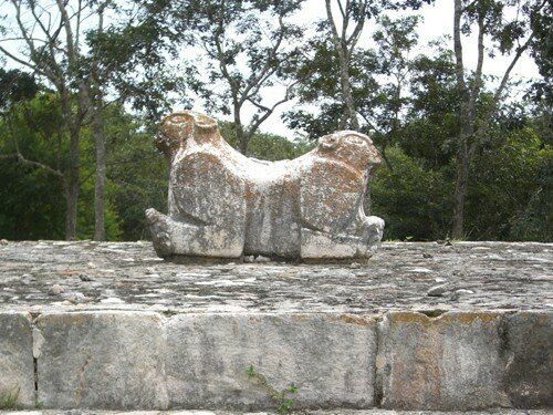 Uxmal - Two Head Jaguar in front of the Palace of the Governor