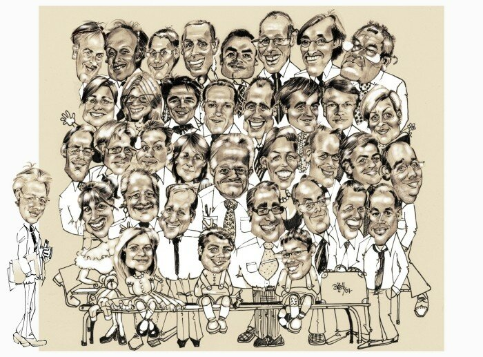 Caricature membres entreprise faon photo de classe d'cole