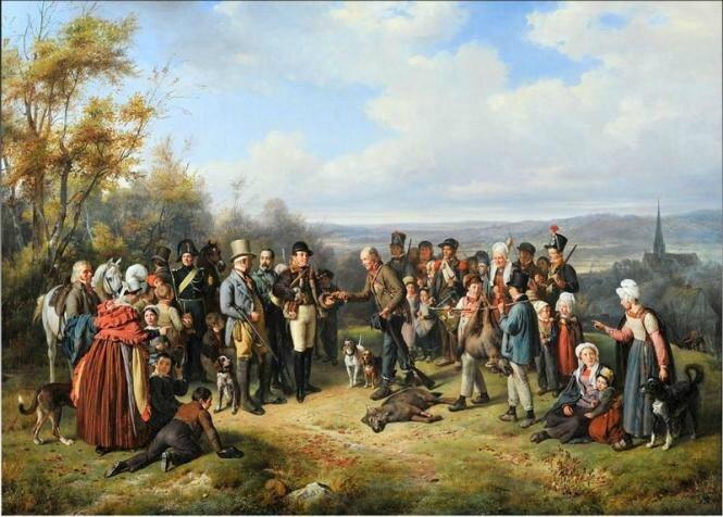 Tableau La chasse au loup Pierre Duval le Camus 1838