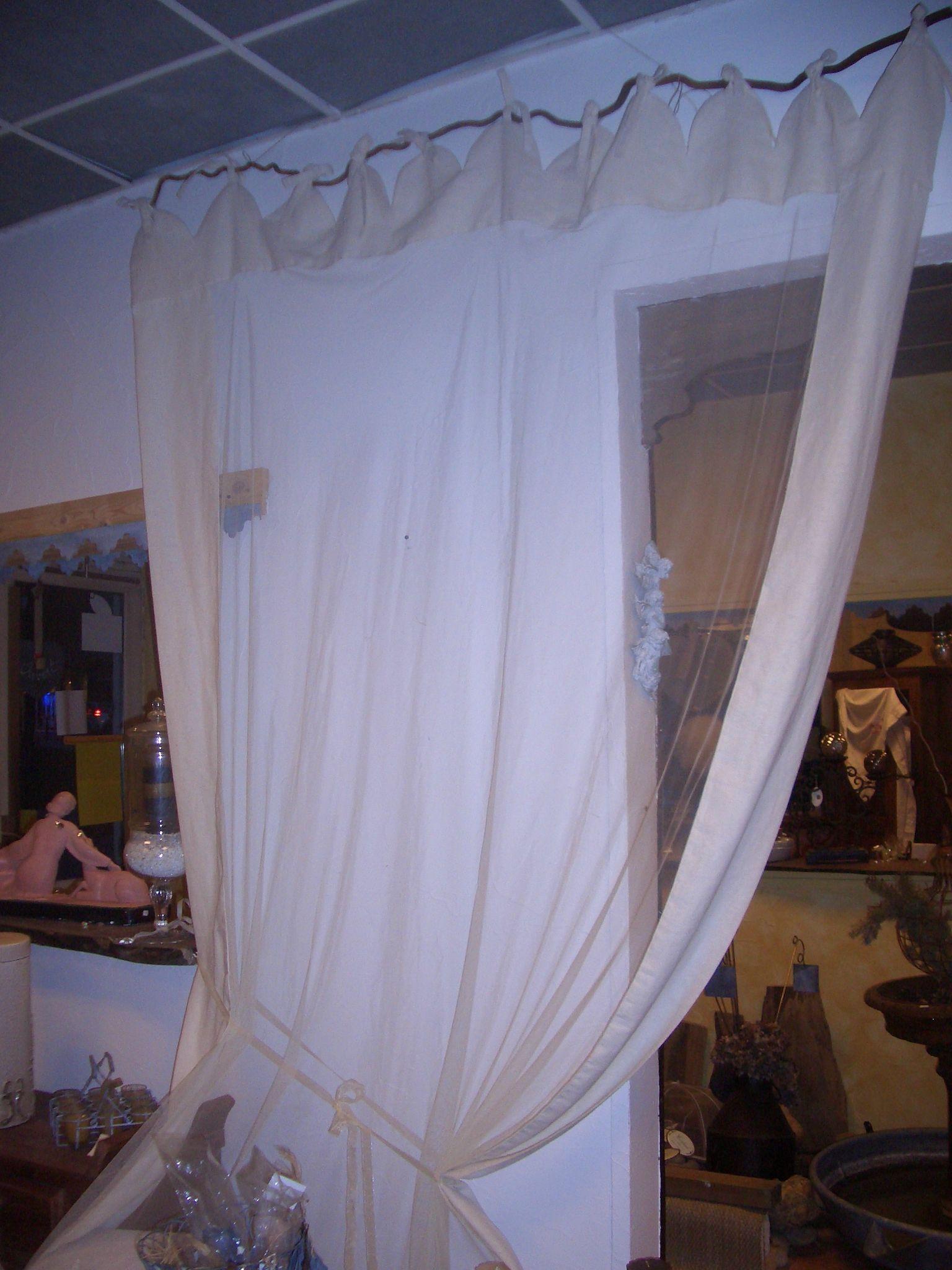 rideau lin et tulle de coton brode photo de mes rideaux grain de folie creation. Black Bedroom Furniture Sets. Home Design Ideas