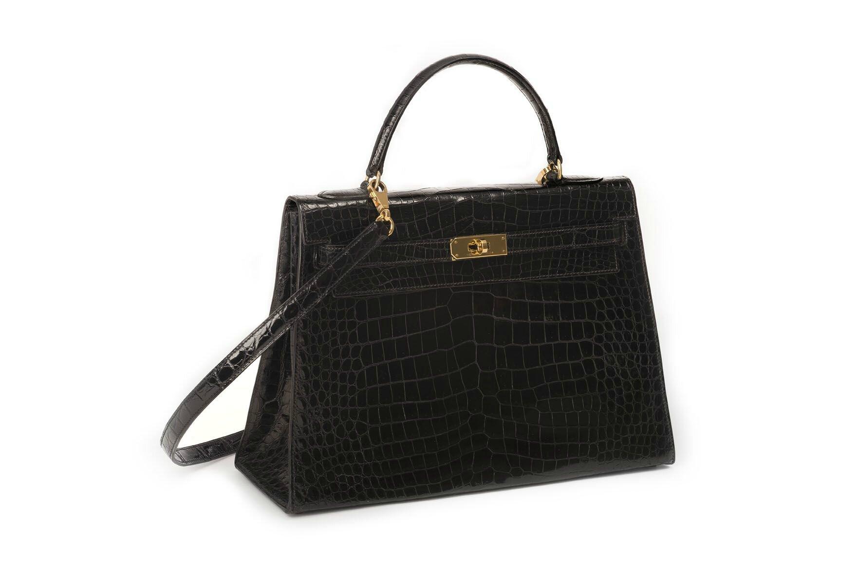 "Hermès, Sac ""Kelly"" 32 cm en crocodile porosus (crocodylus porosus) noir"
