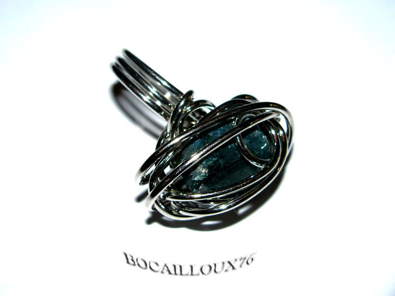 BAGUE ''CAGE'' AGATE INDIENNE 1 - T51