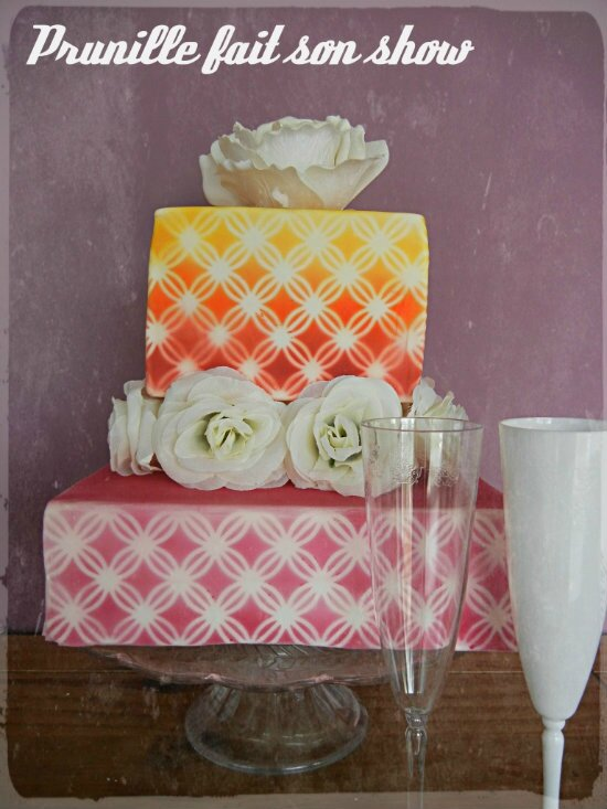 wedding cake rose et aerographe prunillefee