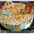 ENTREMETS CHOCOBLANC-CITRON/FRAISES et PTE  PASTILLAGE 