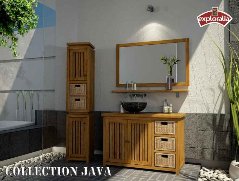 java 110 colonne miroir photo de salle de bain teck. Black Bedroom Furniture Sets. Home Design Ideas