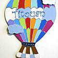 Plaque de porte montgolfière