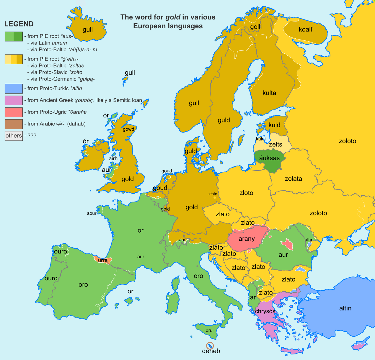 The word for gold in various European languages