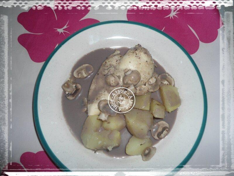 filets de poulet sauce chasseur champignons pommes de terre