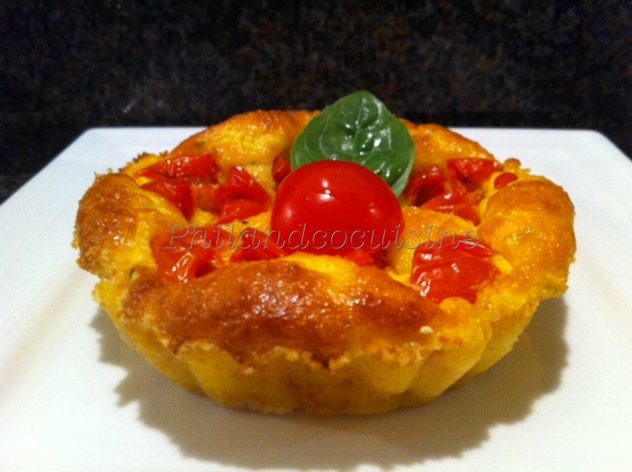Clafoutis aux tomates cerises et à la mozzarella sans gluten