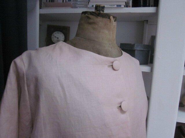 Manteau GISELE en lin glacé rose fané (7)