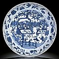 A large blue and white 'boys' dish