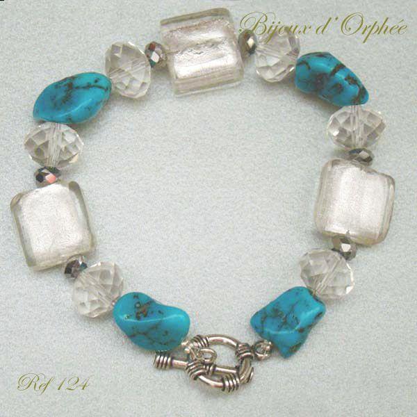 Création Bijoux Fantaisie Toulouse : Bracelet fantaisie turquoise bleue photo de creation