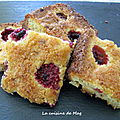 Blondies chocolat blanc framboises