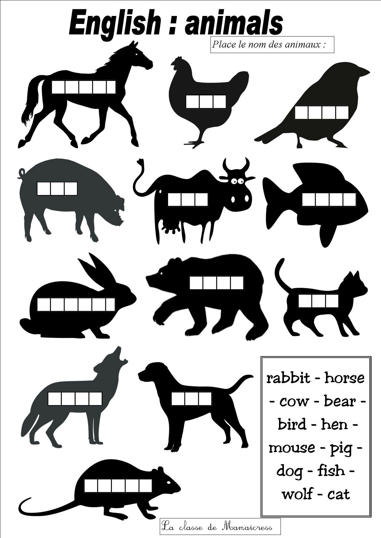 Populaire Anglais : le nom des animaux - La classe de Mamaicress TG37