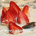 Tarte aux fraises, crème diplomate à la fève tonka