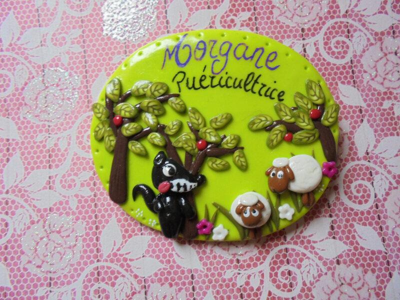 badge décor loup mouton