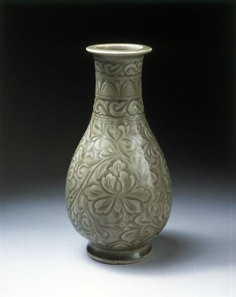 Vase, carved and glazed stoneware, Yaozhou ware, China, Northern Song dynasty (1000-1127)