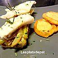 Merlan poché au thym, fenouil et patate douce