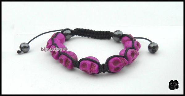 Bracelet Shamballa - 9 perles tête de mort fushia foncé & 2 hématites