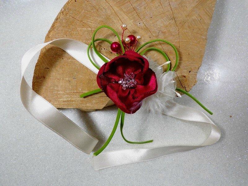 Bracelet de mariée floral satin perles