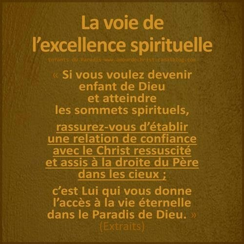 La voie de l'excellence spirituelle