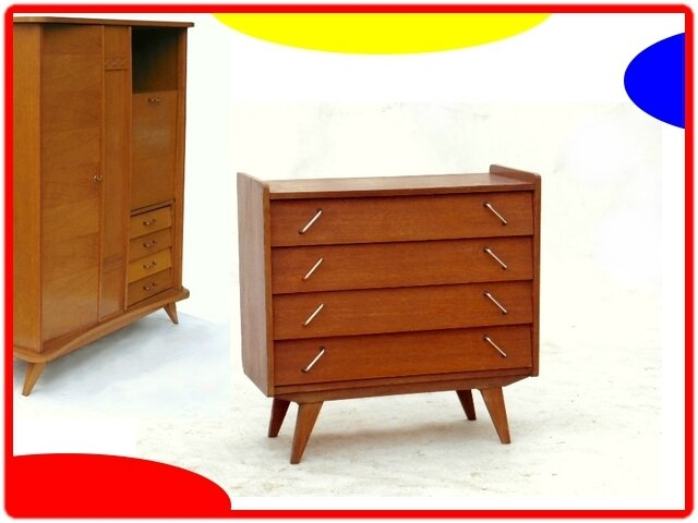 COMMODE VINTAGE PIEDS COMPAS ANNEES 1960