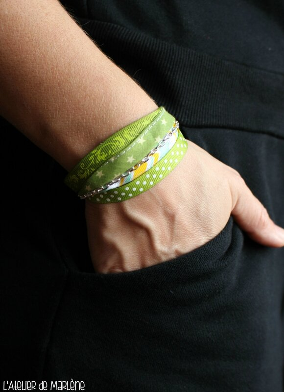 bracelet multi-rangs vert