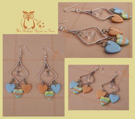 Boucles aux trois coeurs orange