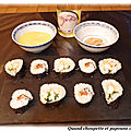 Sushis au saumon et aux crevettes
