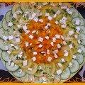 Carpaccio fétaïen de concombre, tomate jaune et poivron orange coriandré
