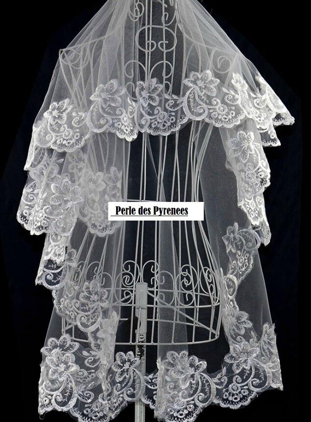 Voile de mariée dentelle blanc 1.5m neuf (voile n°12)