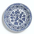 A large and brilliantly painted Ming-style blue and white 'Melon' dish, Mark and period of Yongzheng