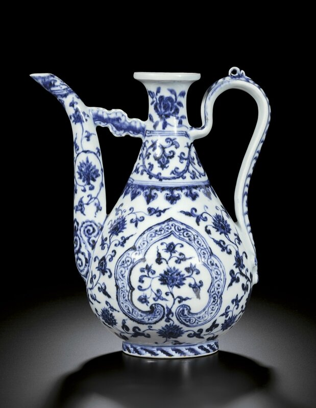 A rare and magnificent blue and white ewer