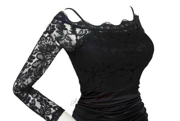 "Robe de soirée ""Betty"" noire dentelle T 36 neuve"