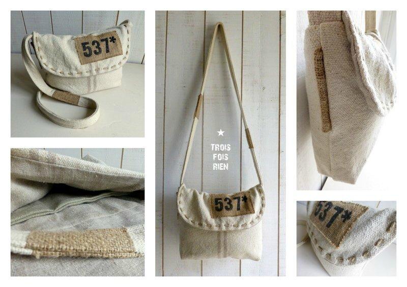 Sac besace chanvre, coton, lin, jute, étiquette imprimée style indus (3)